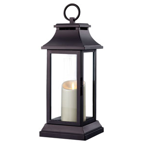 18 Inch Lantern with Outdoor Luminara Candle and Timer - Black