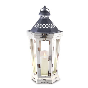 16 Inch Winston Lantern with Luminara Candle and Timer - Antique White