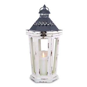20 Inch Winston Lantern with Luminara Candle and Timer - Antique White
