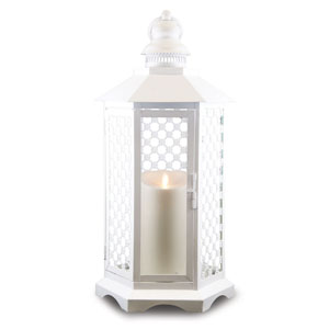 19 Inch Lattice Lantern with Luminara Candle and Timer - White