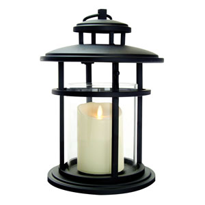13 Inch Cylinder Lantern with Luminara Candle and Timer - Black
