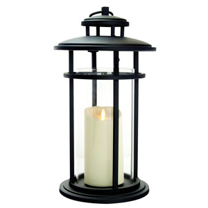 17 Inch Cylinder Lantern with Luminara Candle and Timer - Black