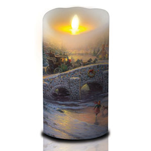 7 Inch Thomas Kinkade Luminara Candle - Spirit of Christmas