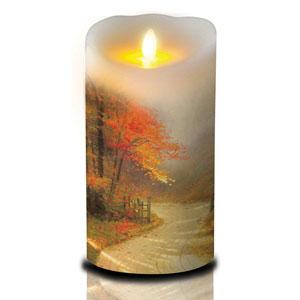 7 Inch Thomas Kinkade Luminara Candle - Autumn Lane