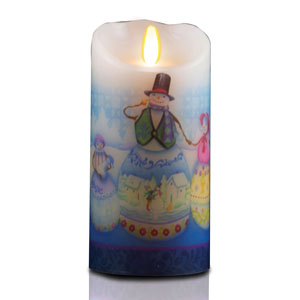 7 Inch Jim Shore Luminara Candle - Snowman Family