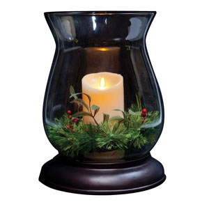 14 Inch Holiday Hurricane Glass with Luminara Candle - Bronze