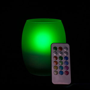 4 Inch Flameless Remote Control Hurricane Candle with Frosted Glass Holder - Multicolor