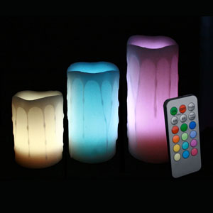 4-5-6 Inch Variety Pack Flameless Remote Control Pillar Candles - Melted Edge - Multicolor