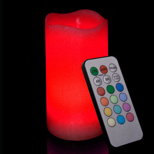 6 Inch Flameless Remote Control Pillar Candle - Curved Edge - Multicolor