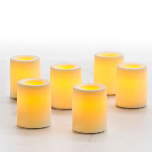 1.75 Inch Flameless Wax Finish Votive Candles - Cream Unscented - 6 Pack