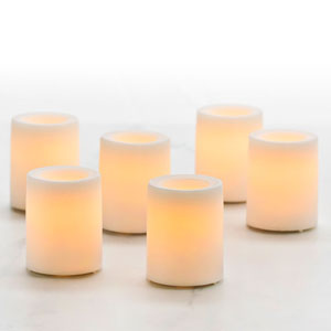 1.75 Inch Flameless Wax Finish Votive Candles - White Unscented - 6 Pack