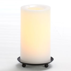 6 Inch Flameless Supreme Quality Pillar Candle with Timer - White with Vanilla Scent