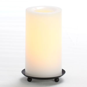 6 Inch Flameless Supreme Quality Pillar Candle with Timer - White Unscented