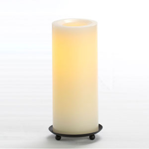 8 Inch Flameless Supreme Quality Pillar Candle with Timer - Cream Unscented