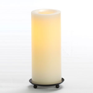 8 Inch Flameless Supreme Quality Pillar Candle with Timer - Cream with Vanilla Scent
