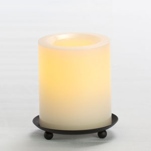 4 Inch Flameless Supreme Quality Pillar Candle with Timer - Cream with Vanilla Scent