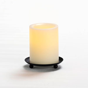4 Inch Flameless Pillar Candle with Timer - Cream with Vanilla Scent