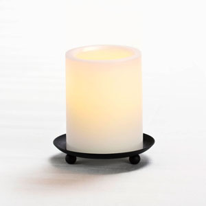 4 Inch Flameless Pillar Candle with Timer - White with Vanilla Scent