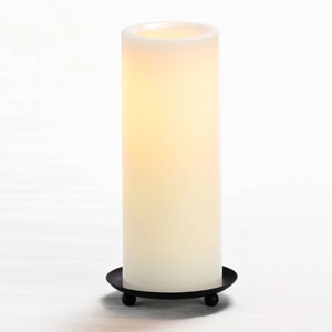 8 Inch Flameless Pillar Candle with Timer - White with Vanilla Scent