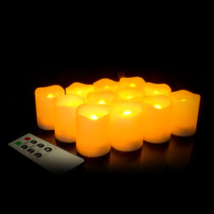 2 Inch Flameless Remote Control Votive Candles - Cream - 12 Pack
