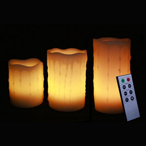 4-5-6 Inch Variety Pack Flameless Remote Control Pillar Candles - Melted Edge - Yellow