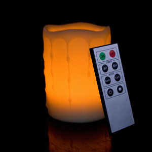 4 Inch Flameless Remote Control Pillar Candle - Melted Edge - Yellow