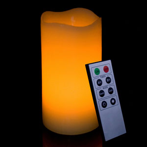 6 Inch Flameless Remote Control Pillar Candle - Curved Edge - Yellow