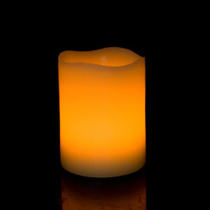 4 Inch Flameless Pillar Candle with Timer - Curved Edge - Yellow