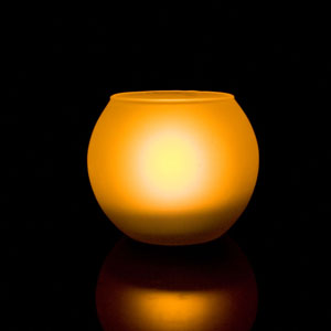 4 Inch Flameless Blow On-Off Spherical Candle with Frosted Glass Holder - Yellow