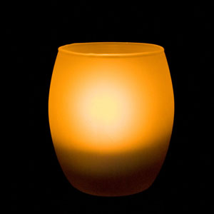 3 Inch Flameless Blow On-Off Hurricane Candle with Frosted Glass Holder - Yellow