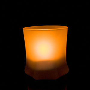 3 Inch Flameless Blow On-Off Hexagon Candle with Frosted Glass Holder - Yellow