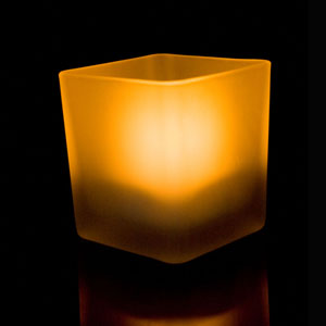 3 Inch Flameless Blow On-Off Square Candle with Frosted Glass Holder - Yellow