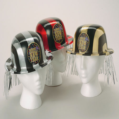 New Years Striped Derby Hats with Fringe